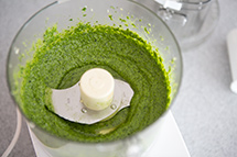 the pesto should be smooth and vibrant green